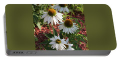 White Echinacea Portable Battery Charger by Suzanne Gaff