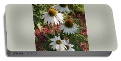 White Echinacea In Pastel Portable Battery Charger by Suzanne Gaff
