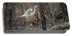 Portable Battery Charger featuring the photograph White Egret by David Bearden