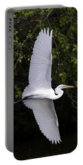 Portable Battery Charger featuring the photograph White Egret In Flight-signed-#0716 by J L Woody Wooden