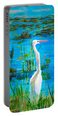 White Egret In Florida Portable Battery Charger