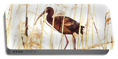 Portable Battery Charger featuring the photograph White Faced Ibis In Reeds by Robert Frederick