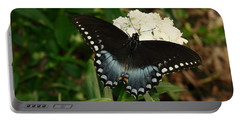 White Flowered Butterfly Portable Battery Charger