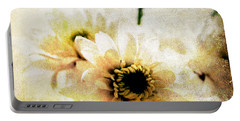 White Flowers Portable Battery Charger by Linda Woods