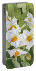 White Garden Blossoms Watercolor On Masa Paper Portable Battery Charger