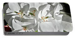 White Geraniums Portable Battery Charger