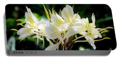 White Hawaiian Flowers Portable Battery Charger