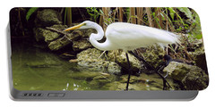 Portable Battery Charger featuring the photograph White Heron by Cindy Lee Longhini