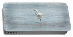 White Heron On The Beach Portable Battery Charger