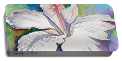 White Hibiscus Waimeae Portable Battery Charger