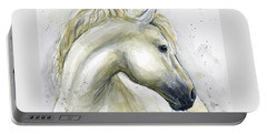 White Horse Watercolor Portable Battery Charger