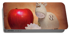 Portable Battery Charger featuring the photograph White Horse With Apple by Tom Mc Nemar