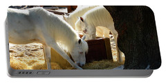 Portable Battery Charger featuring the photograph White Horses Feeding by David Lee Thompson