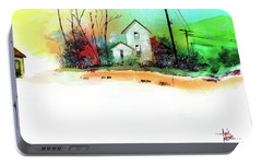 Portable Battery Charger featuring the painting White Houses by Anil Nene