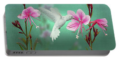 White Hummingbird And Pink Guara Portable Battery Charger