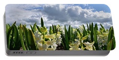White Hyacinth Field Portable Battery Charger by Mihaela Pater