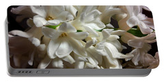 White Hyacinth Portable Battery Charger by Jasna Dragun