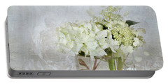 White Hydrangea Portable Battery Charger