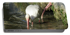 White Ibis Couple Portable Battery Charger by George Randy Bass