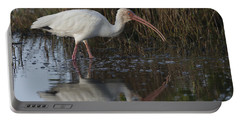 White Ibis Feeding Portable Battery Charger