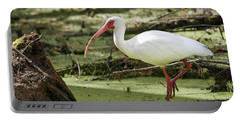 White Ibis Portable Battery Charger by Gary Wightman
