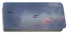 White Ibis In Flight At Sunset Portable Battery Charger