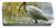 White Ibis On The Florida Shore  Portable Battery Charger by Saija Lehtonen