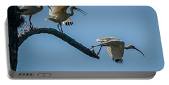 White Ibis Takeoff Portable Battery Charger by Tom Claud