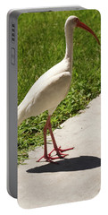 White Ibis Walking Down The Street Portable Battery Charger