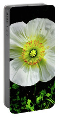 White Iceland Poppy Portable Battery Charger by Russell Keating