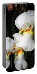 Portable Battery Charger featuring the photograph White Iris After The Rain by Sheila Brown