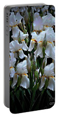 White Iris Garden Portable Battery Charger by Sherry Hallemeier