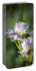 White Iris On Abstract Background #g4 Portable Battery Charger