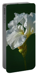 White Iris On Dark Green #g0 Portable Battery Charger