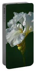 White Iris On Dark Green #g0 Portable Battery Charger