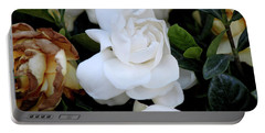 White Large Gardenia Portable Battery Charger by Suhas Tavkar