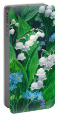 White Lilies Of The Valley Portable Battery Charger