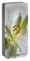 White Lilies On Blue Portable Battery Charger