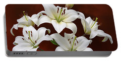 White Lilies On Red Portable Battery Charger