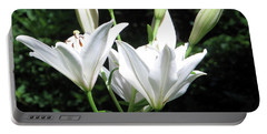 Portable Battery Charger featuring the painting White Lilies, West Virginia by Sandy McIntire