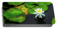 White Lily And Rippled Water Portable Battery Charger