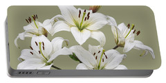 White Lilies Illustration Portable Battery Charger