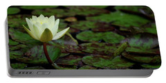White Lily In The Pond Portable Battery Charger