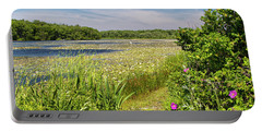White Lily Pond  Portable Battery Charger