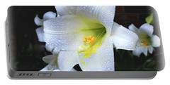 Lily With Droplets Portable Battery Charger