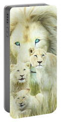 Portable Battery Charger featuring the mixed media White Lion Family - Forever by Carol Cavalaris