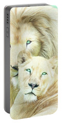 Portable Battery Charger featuring the mixed media White Lion Family - Mates by Carol Cavalaris