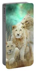 Portable Battery Charger featuring the mixed media White Lion Family - Mothering by Carol Cavalaris