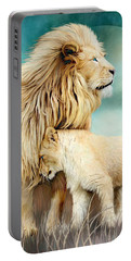 Portable Battery Charger featuring the mixed media White Lion Family - Protection by Carol Cavalaris