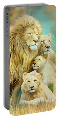 Portable Battery Charger featuring the mixed media White Lion Family - Unity by Carol Cavalaris